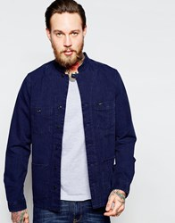 Lee Overshirt Jacket Collarless Indigo Blue Dub