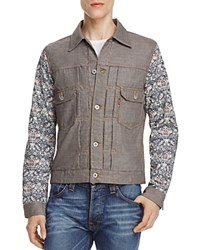 Junya Watanabe Floral Sleeve Levi's Trucker Jacket Brown Black Multi