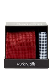 Wurkin Stiffs Solid Tie And Pocket Square Set Red