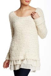 Urban Day Fuzzy Boucle Knit Ruffle Trim Pullover White