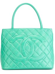 Chanel Vintage Quilted Logo Tote Blue