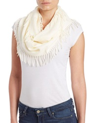 Lord And Taylor Fringe Trimmed Infinity Scarf Ivory