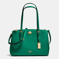 Coach Turnlock Carryall 29 In Crossgrain Leather Light Gold Forest