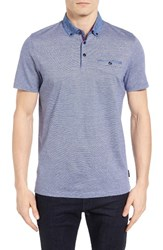 Ted Baker Men's London Cocoa Contrast Collar Stripe Polo Blue