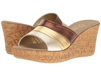 Onex Balero Bronze Gold Leather Combo Women's Wedge Shoes