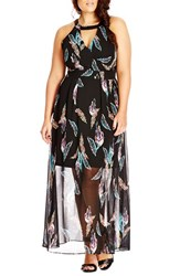 Plus Size Women's City Chic 'Multi Feather' Halter Style Maxi Dress