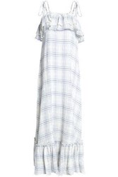 Antik Batik Checked Cotton Gauze Maxi Dress Off White Off White