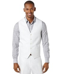 Perry Ellis Big And Tall Linen Blend Vest Bright White