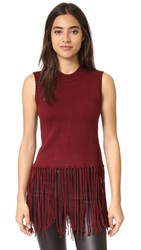 Re Named Tassel Sleeveless Sweater Wine