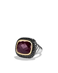 David Yurman Waverly Limited Edition Ring With Ruby Black Diamonds And Gold Silver