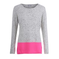 Orwell Austen Cashmere Speckled Grey And Neon Pink Colour Block Sweater
