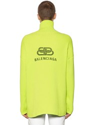 Balenciaga Logo Printed Cotton Turtleneck Lime Green