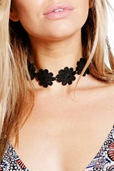 Boohoo Wide Floral Lace Choker Black