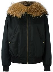 Mr And Mrs Italy Fur Collar Bomber Jacket Black