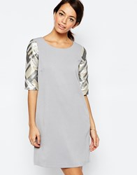 Traffic People Armed And Dangerous Dress With Metallic Sleeves Black
