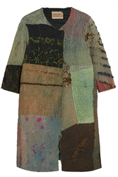 By Walid Embroidered Paneled Textured Silk Coat