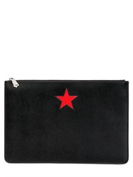 Givenchy Large Smooth Leather Pouch With Star