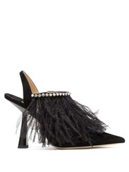 Jimmy Choo Ambre 100 Feathered Suede Slingback Pumps Black