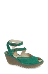 Fly London Yaxi Wedge Sandal Avocado Suede