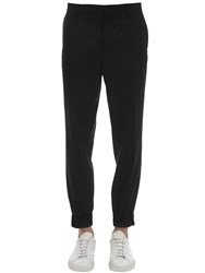 Moschino Wool Formal Pants W Embroidered Detail Blue