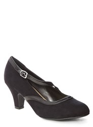 Evans Extra Wide Black Patent Trim Court Heels