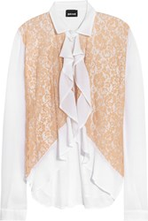 Just Cavalli Ruffled Lace And Mesh Paneled Chiffon Blouse White