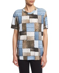 Norma Kamali Patchwork Print Short Sleeve Boxy Tee Size X Small Blue Patchwork