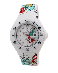 Toywatch Jelly Butterfly And Heart Tattoo Watch White Red Blue
