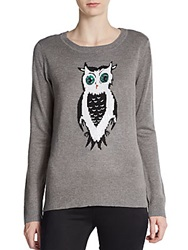 Saks Fifth Avenue Gray Sequined Owl Sweater Grey