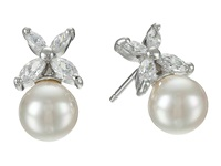 Majorica 8Mm Pearl W Cz Flower Earrings White Earring