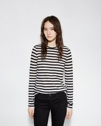 Proenza Schouler Long Sleeve Striped Tissue Tee Black And Ecru