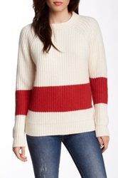 Trovata Chunky Ribbed Crew Neck Sweater Red