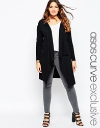 Asos Curve Waterfall Cardigan With Ribbed Sleeves Black