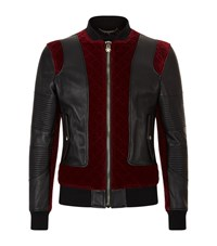 Philipp Plein Velvet Panelled Leather Biker Jacket Male Black