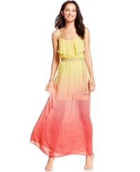 Amy Byer Bcx Juniors' Ruffled Ombre Maxi Dress Coral