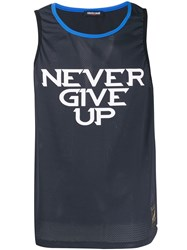 Roberto Cavalli Never Give Up Mesh Tank Top Blue