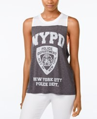 Mighty Fine Juniors' Nypd Logo Graphic Tank Heather Charcoal
