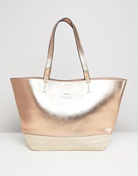 New Look Rose Gold And Straw Beach Bag