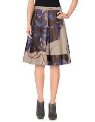 D.Exterior Skirts Knee Length Skirts Women Dark Brown