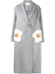 Anya Hindmarch Egg Pocket Coat Grey