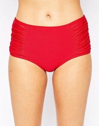 Lepel Holiday Sparkle Deep Mid Waist Bikini Bottom Coral