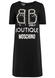 Boutique Moschino Black Faux Pearl Embellished Dress
