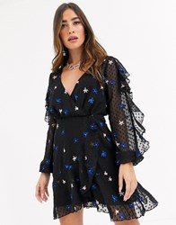 Talulah Up All Night Star Embroidered Ruffle Mesh Dress Black