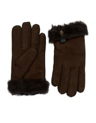 Ugg Leather Trim And Shearling Cuff Tenney Gloves Chocolate
