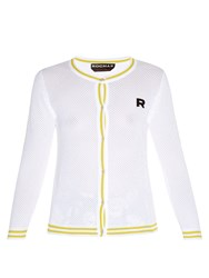 Rochas Eyelet Knit Cardigan White Multi