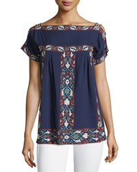 Max Studio Floral Stripe Off The Shoulder Tee Navy Red