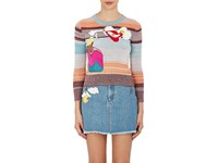 Marc Jacobs Women's Embellished Variegated Striped Crop Wool Sweater Pink