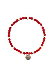Eleventy Beaded Single Charm Bracelet Red