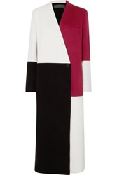 Haider Ackermann Color Block Wool And Cashmere Blend Coat White