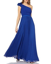 Kay Unger New York One Shoulder Chiffon Gown W Pleated Skirt Sapphire